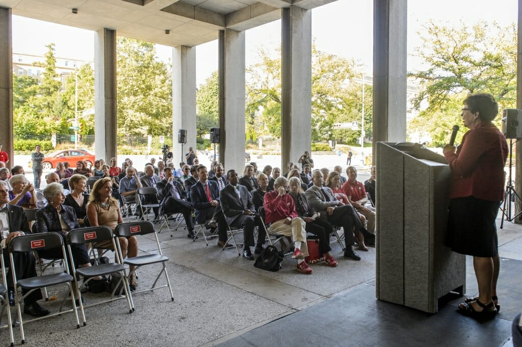 UW Chancellor Rebecca Blank speaks to an audience of department members and donors during the groundbreaking ceremony.