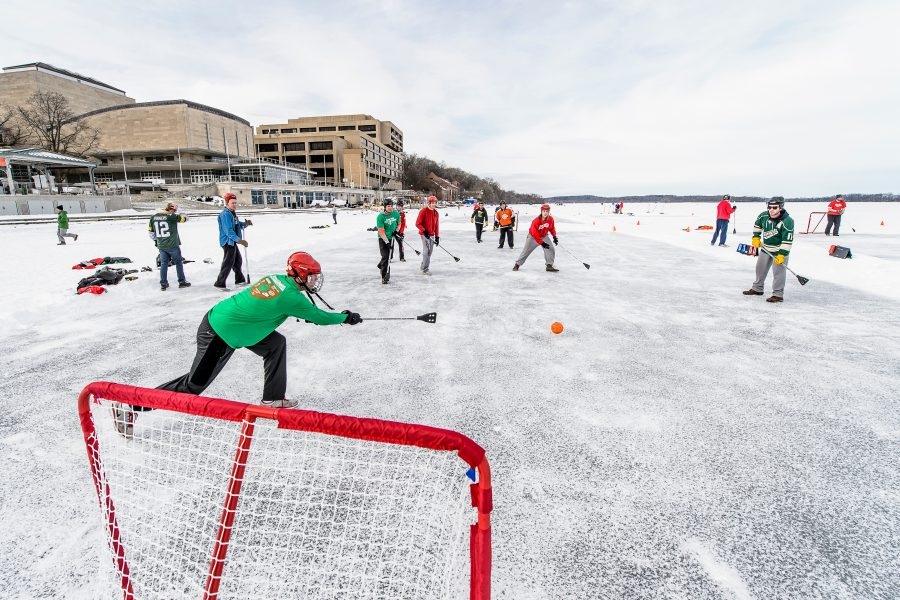 UW students take part in the broomball tournament