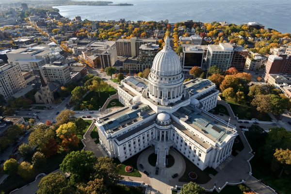overhead shot of Wisconsin state capital