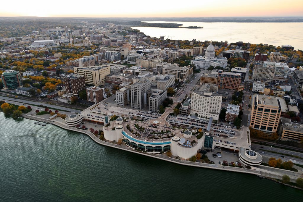 aerial shot of downtown madison