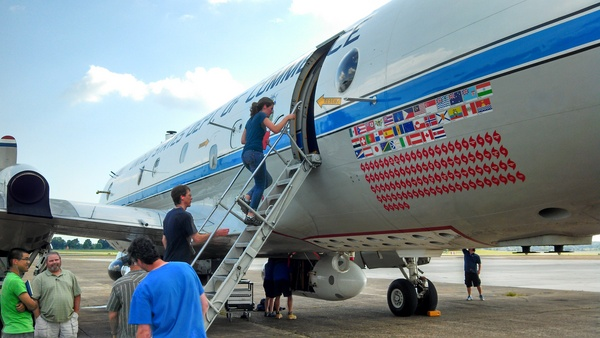 Jen Kaiser boarding plane