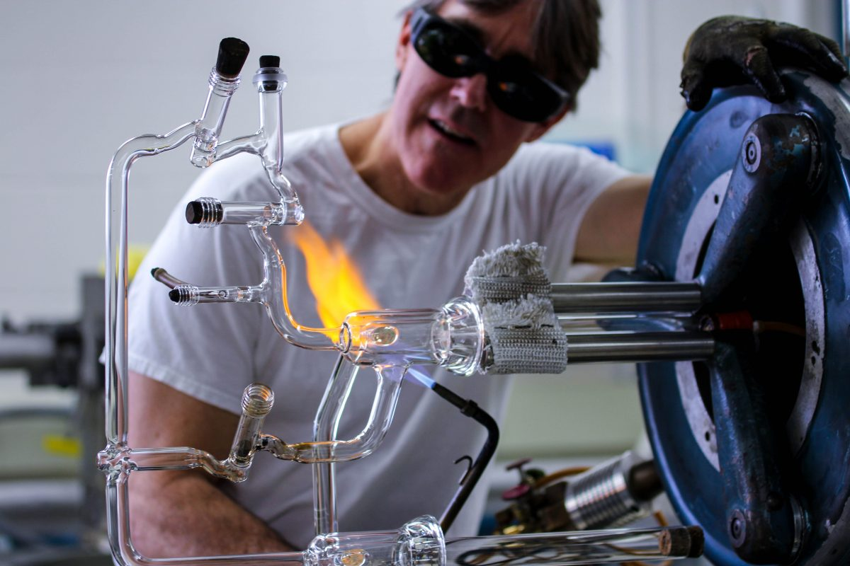 Tracy Drier working on glass instrument