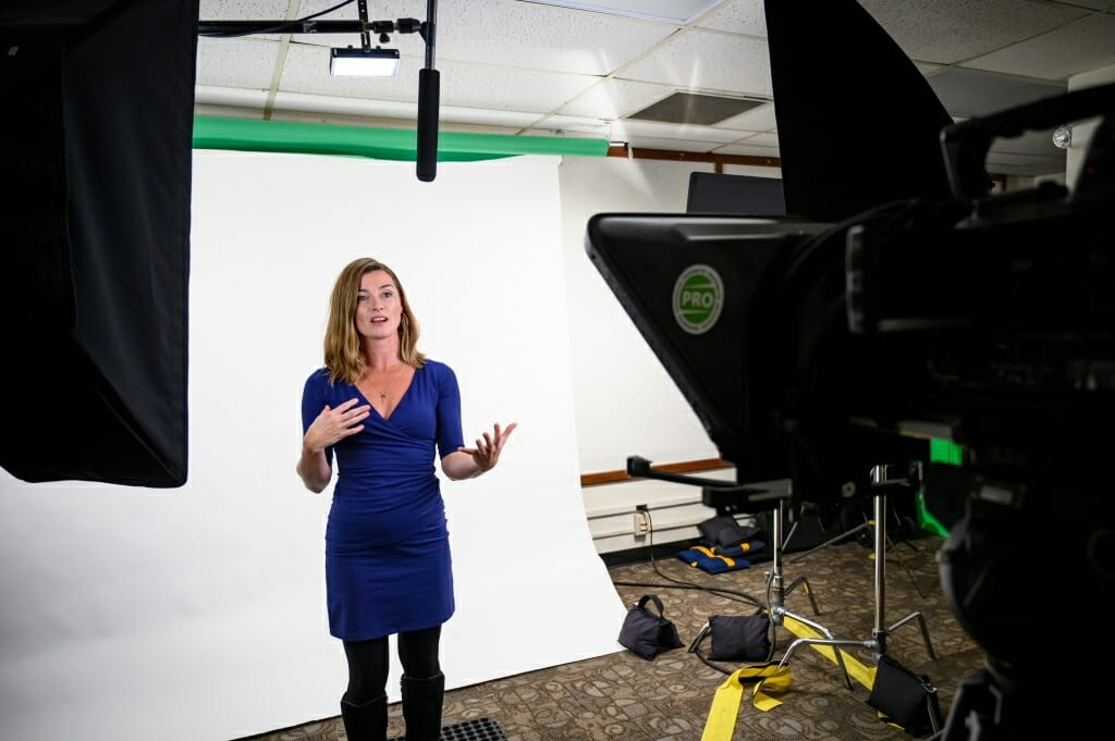 Professor Sara McKinnon provides training to faculty members.