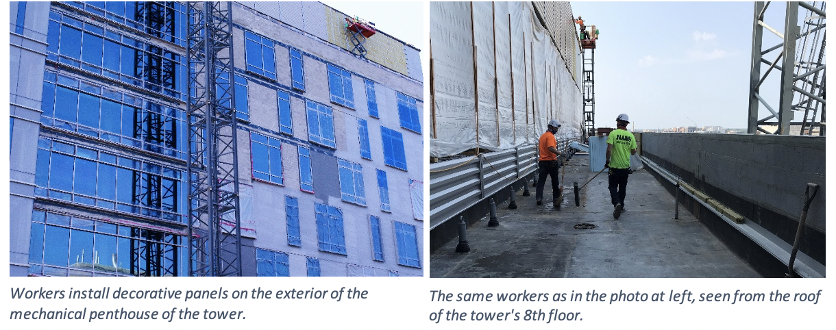 Workers install decorative panels on the exterior of the mechanical penthouse of the tower. The same workers as in the photo on the left, seen from the roof of the tower's 8th floor.