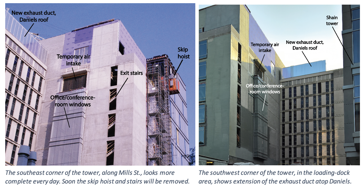 The southeast corner of the tower, along Mills St, looks more complete every day. Soon the skip hoist and stairs will be removed. Second photo shows the extension of the exhaust duct atop Daniels.