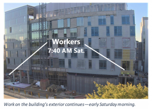 Work on the building's exterior continues- early Saturday morning.