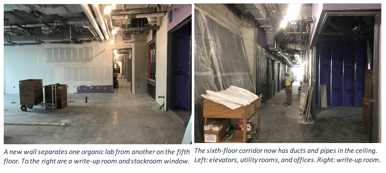 A new wall separates one organic lab from another on the fifth floor. To the are a write-up room and stockroom window. The sixth-floor corrider now has ducts and pipes in the ceiling.