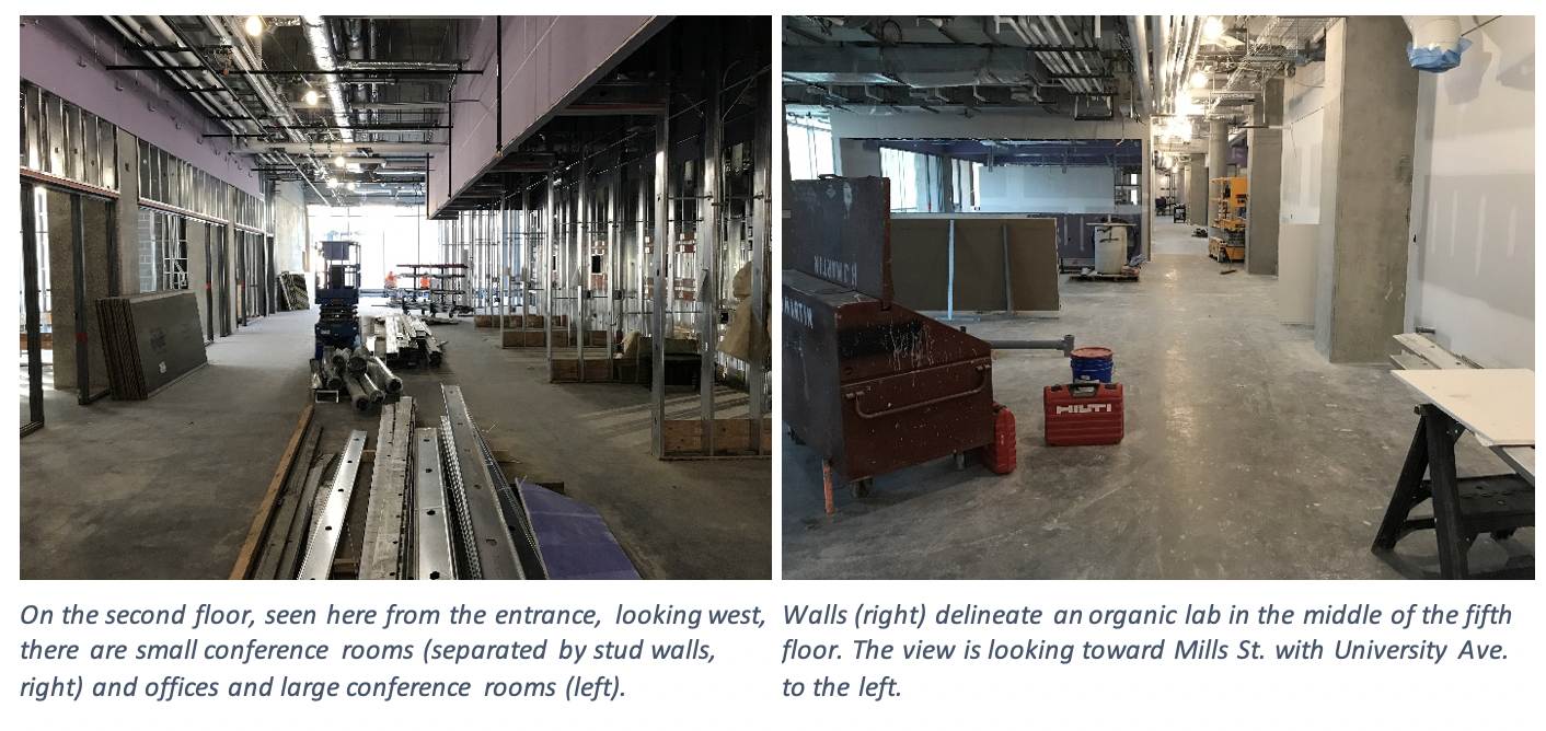 The left image is on the second floor, seen here from the entrance, looking west, there are small conference rooms (separated by stud walls, right) and offices and large conference rooms (left). The right image shows the walls (right) delineate an organic lab in the middle of the fifth floor. The view is looking toward Mills St. with University Ave. to the left.