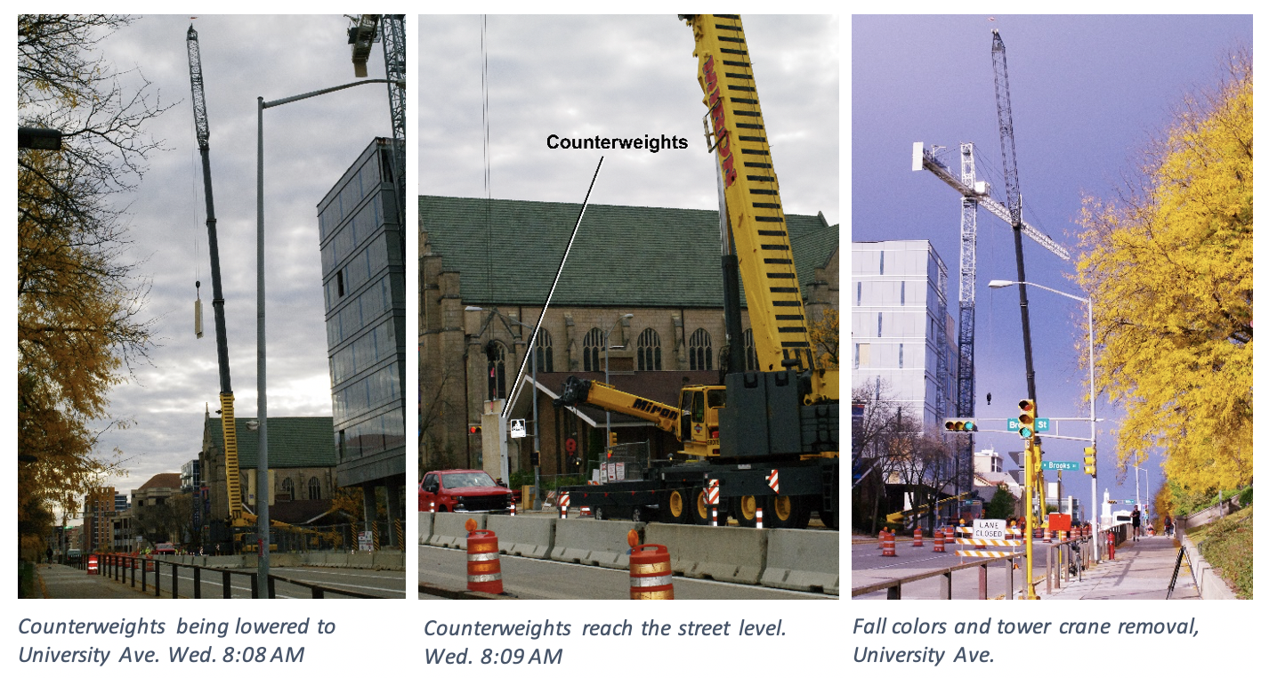 Counterweights being lowered on University Ave.