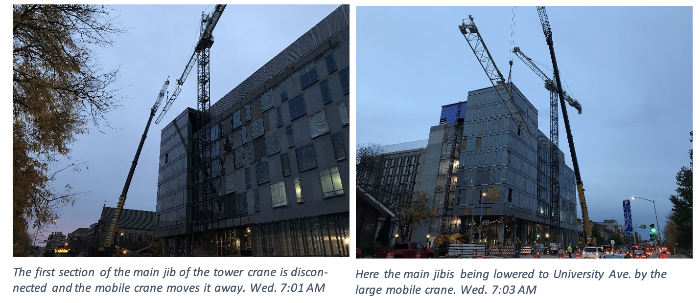 The first section of the main jib of the crane is disconnected and the mobile crane moves it away. In the second photo, the main jib is being lowered to University Ave by the large mobile crane.