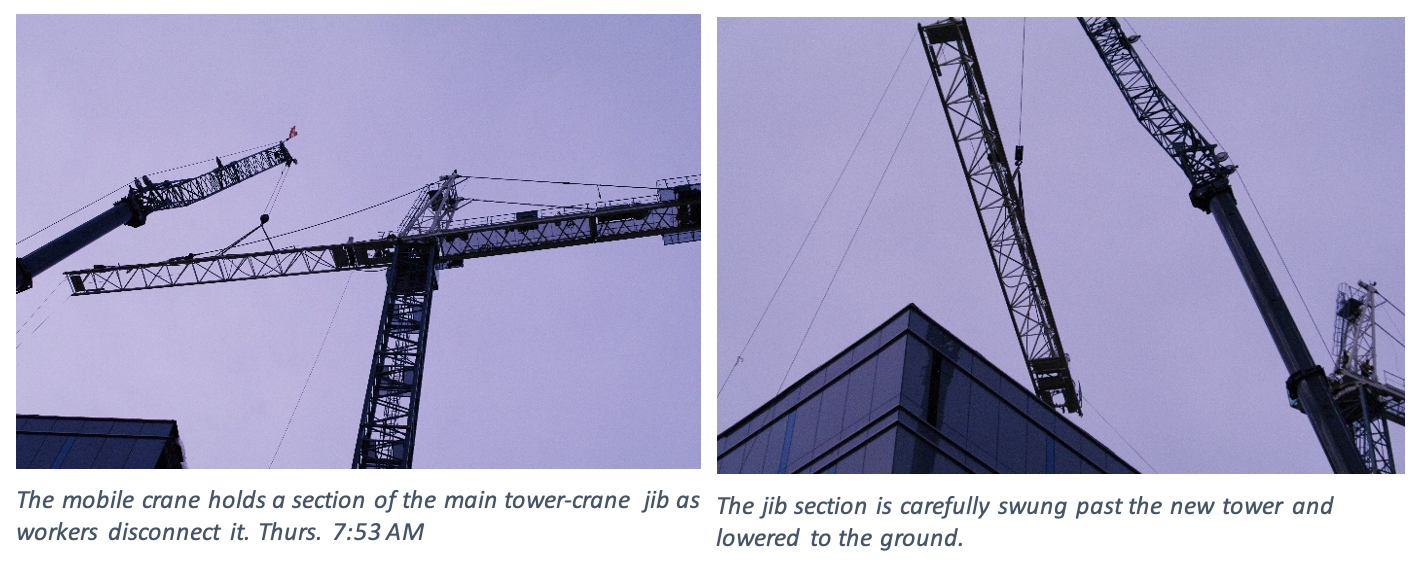 In the first picture, the mobile crane holds a section of the main tower crane jib as workers disconnect it. The second picture jib is carefully swung past the new tower and lowered to the ground.