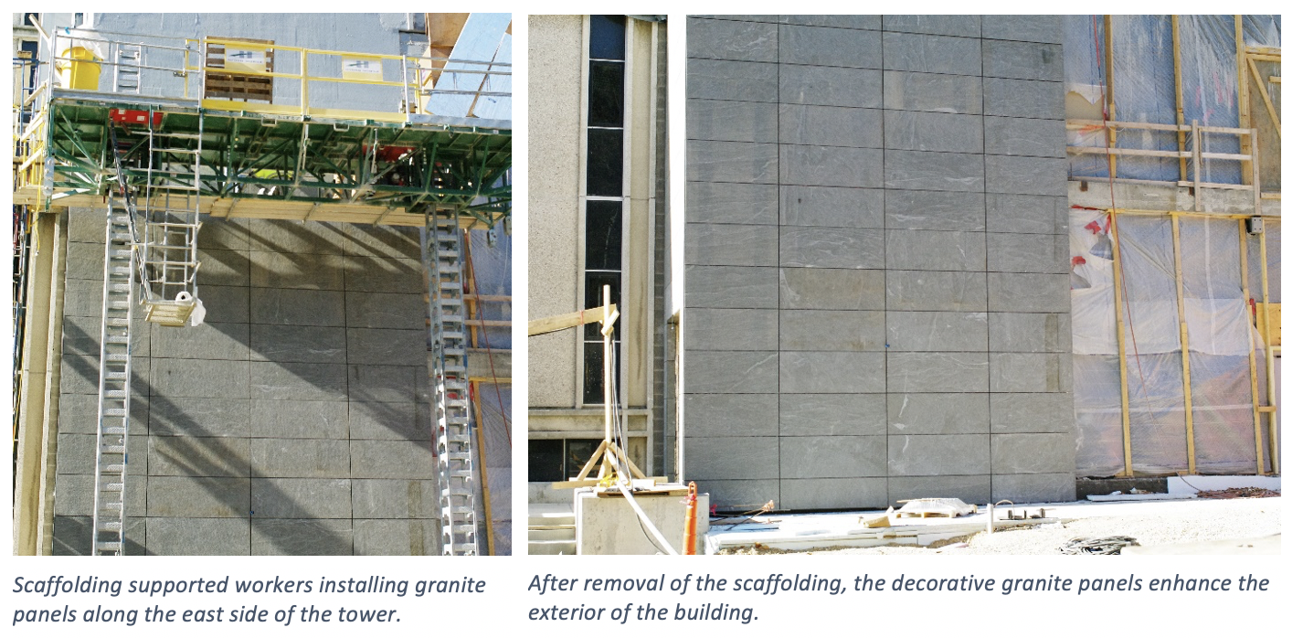 The left photo shows scaffolding that supported workers installing granite panels along the east side of the tower. The right photo shows after the removal of the scaffolding, the decorative granite panels enhance the exterior of the building.