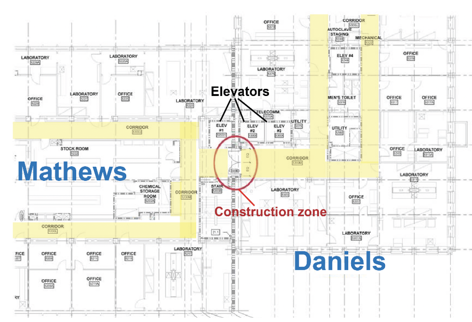 The blue print of the building.