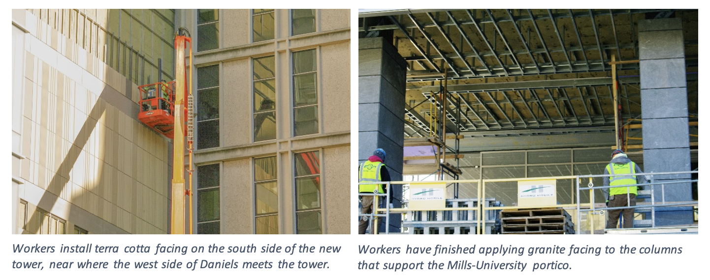 Two images show construction workers installing the terra cotta and granite panels on the exterior of the building.