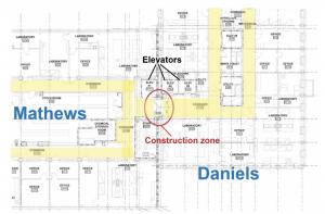 Blueprint of the Mathews and Daniels buildings' layout for construction