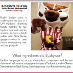 Bucky badger mixes chemicals for an experiment