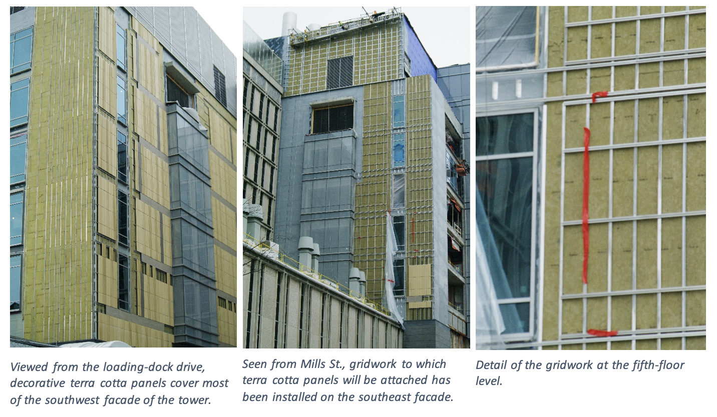 The left image is a view from the loading-dock drive, decorative terra cotta panels cover most of the southwest facade of the tower. The middle image is a view from Mills St., where gridwork to which terra cotta panels will be attached has been installed on the southeast facade. The right image shows the detail of the gridwork at the fifth-floor level.
