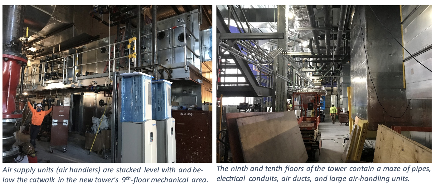 In the left image, air supply units (air handlers) are stacked level with and be­low the catwalk in the new tower's 9th-floor mechanical area. In the right image, the ninth and tenth floors of the tower contain a maze of pipes, electrical conduits, air ducts, and large air-handling units.