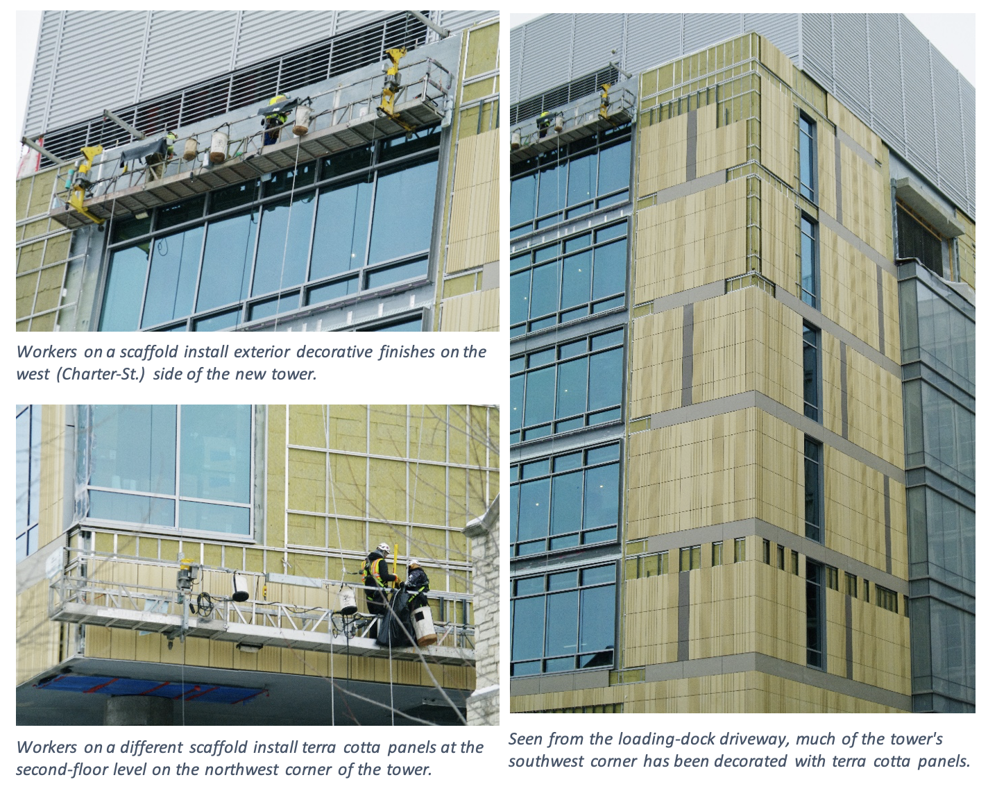Three images showing workers installing the decorative terra cotta panels on the exterior of the building.