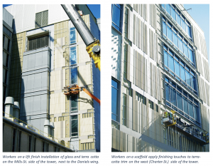 Two exterior shots showing the installation of glass and terra cotta next to the Daniels wing.