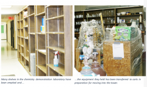 Two images showing chemistry laboratory materials being packed up to move into the new tower.