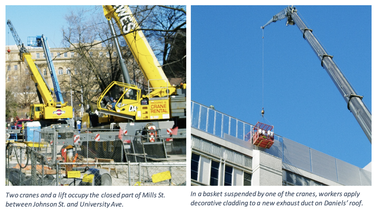 Two images showing cranes at N. Mills St.