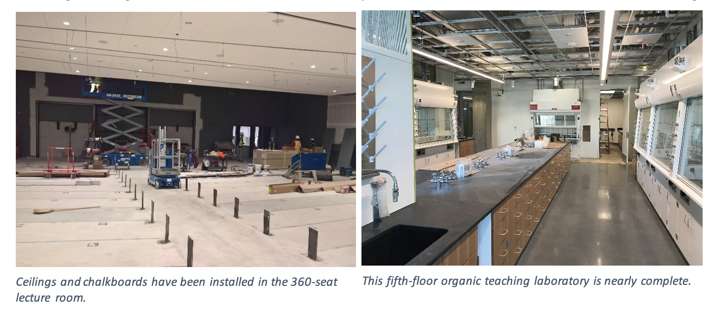Two photos showing the new 360-person lecture room and a new laboratory room.