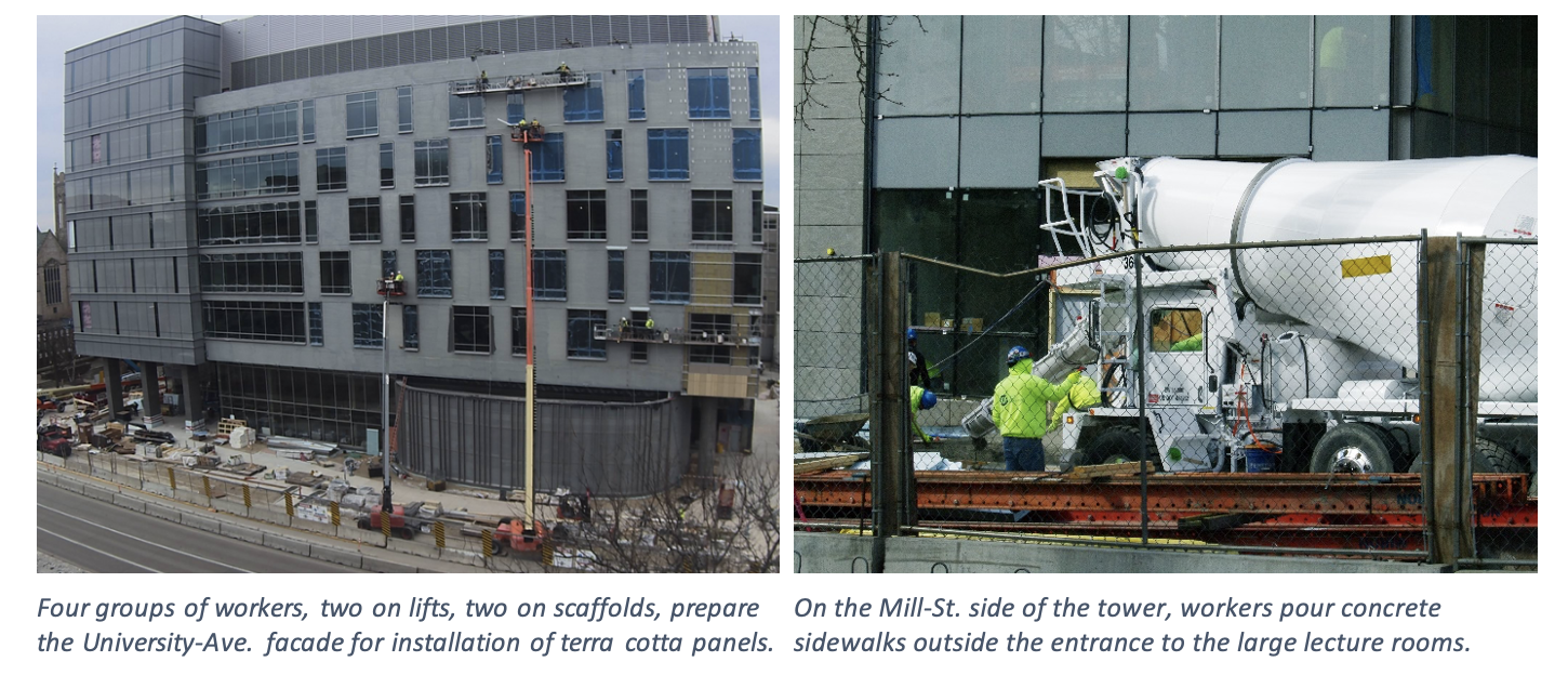 Two photos showing the exterior of the new tower and the installation of terra cotta panels.