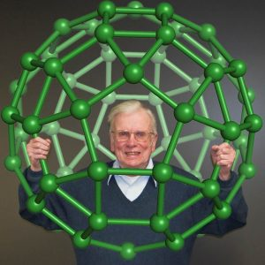 Man smiling from within a buckey ball
