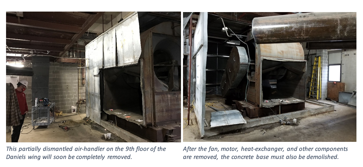 Partially dismantled air-handler in Daniels wing.