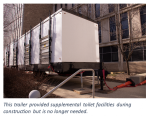 This trailer provided supplemental toilet facilities during construction but is no longer needed.
