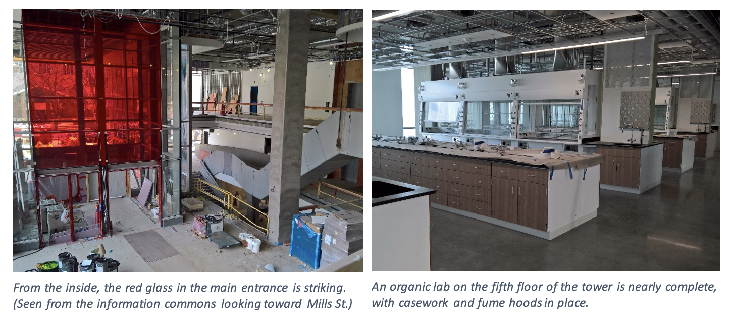 An organic lab on the fifth floor of the tower is nearly complete, with casework and fume hoods in place.