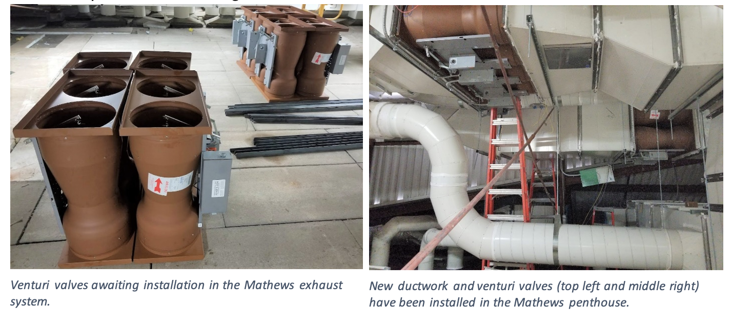 New ductwork and venturi valves (top left and middle right) have been installed in the Mathews penthouse.