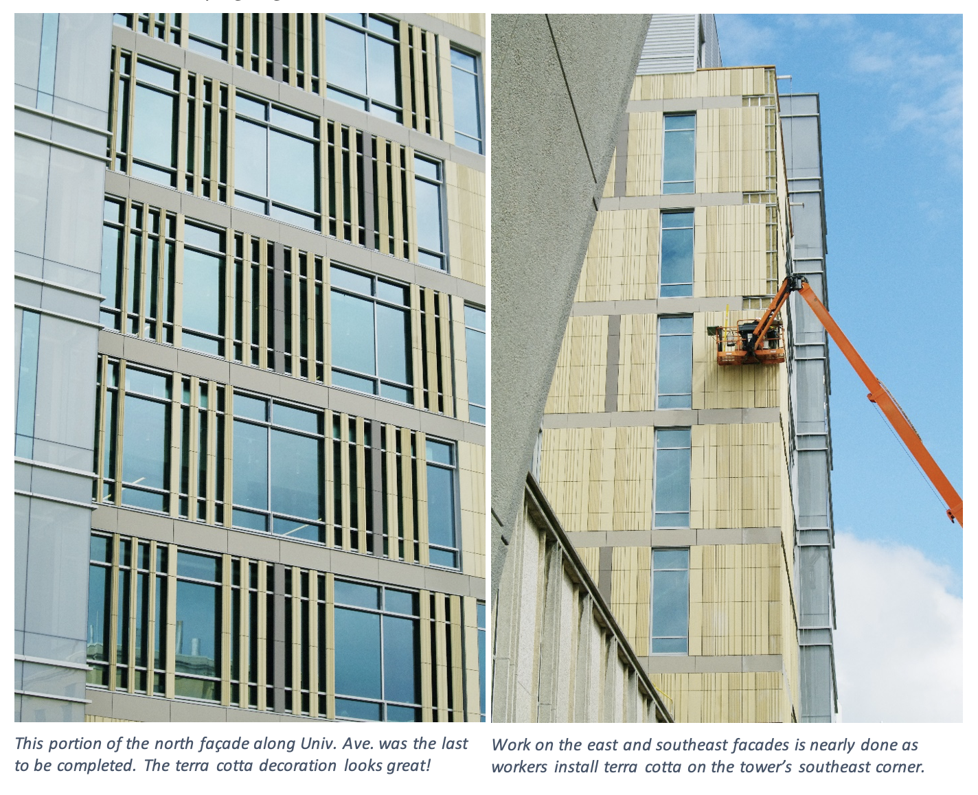 Work on the east and southeast facades is nearly done as workers install terra cotta on the tower's southeast corner.