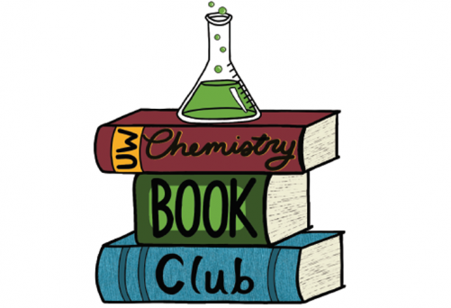 Artwork with stack of books and chemistry flask on top