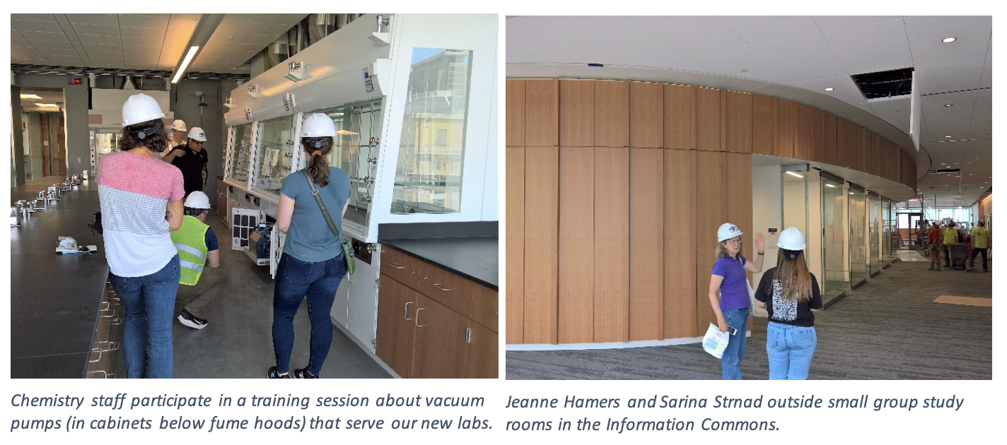 On the left, chemistry staff participate in a training session about vacuum pumps (in cabinets below fume hoods) that serve our new labs. On the right, Jeanne Hamers and Sarina Strnad outside small group study rooms in the Information Commons.