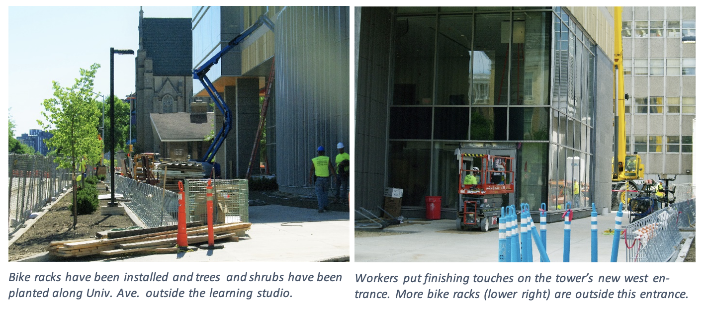 Two photos showing the bike racks being installed outside of the tower and the tower's new west entrance.