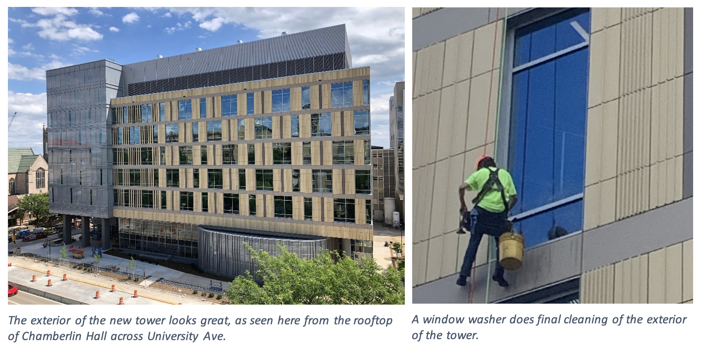 On the left, the exterior of the new tower looks great, as seen here from the rooftop of Chamberlin Hall across University Ave. On the right, a window washer does final cleaning of the exterior of the tower.