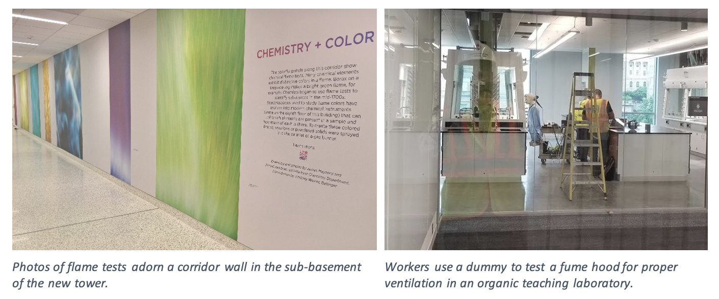 On the left, photos of flame tests adorn a corridor wall in the sub-basement of the new tower. On the right, workers use a dummy to test a fume hood for proper ventilation in an organic teaching laboratory.