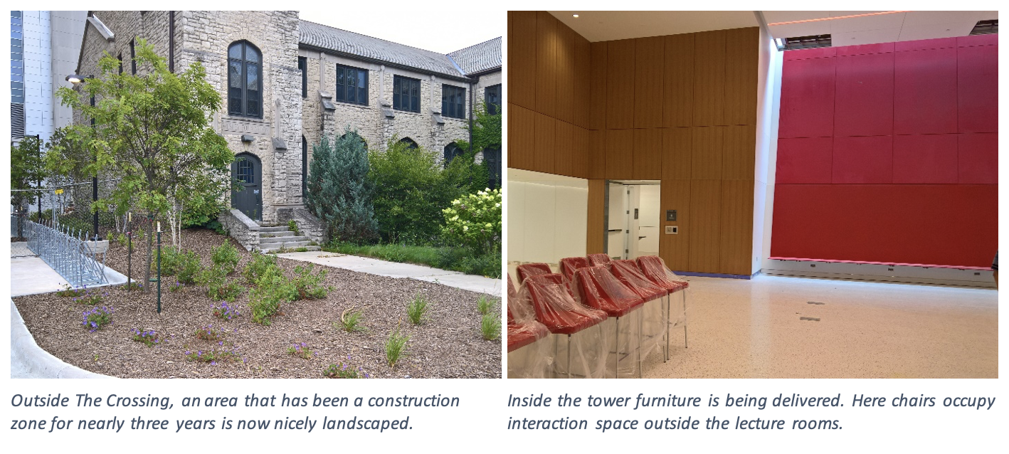 On the right, outside The Crossing, an area that has been a construction zone for nearly three years is now nicely landscaped. On the right, inside the tower furniture is being delivered. Here chairs occupy interaction space outside the lecture rooms.